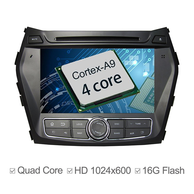 For Hyundai Santa Fe IX45 2013 2014 Car DVD Android 4.4.4 GPS Navigation Bluetooth MP3 CD AM FM SD Built-in WIFI AuxIn IPod DVR<br><br>Aliexpress