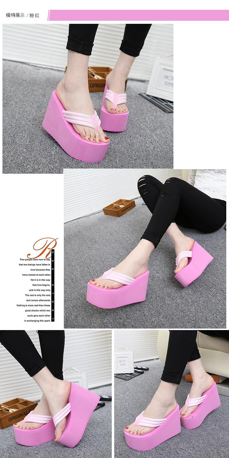 Platform Flip-Flops 2016 Summer High-Heeled Sandals Thick High-Heeled Shoes Women Slippers Travel Holiday Beach Shoes