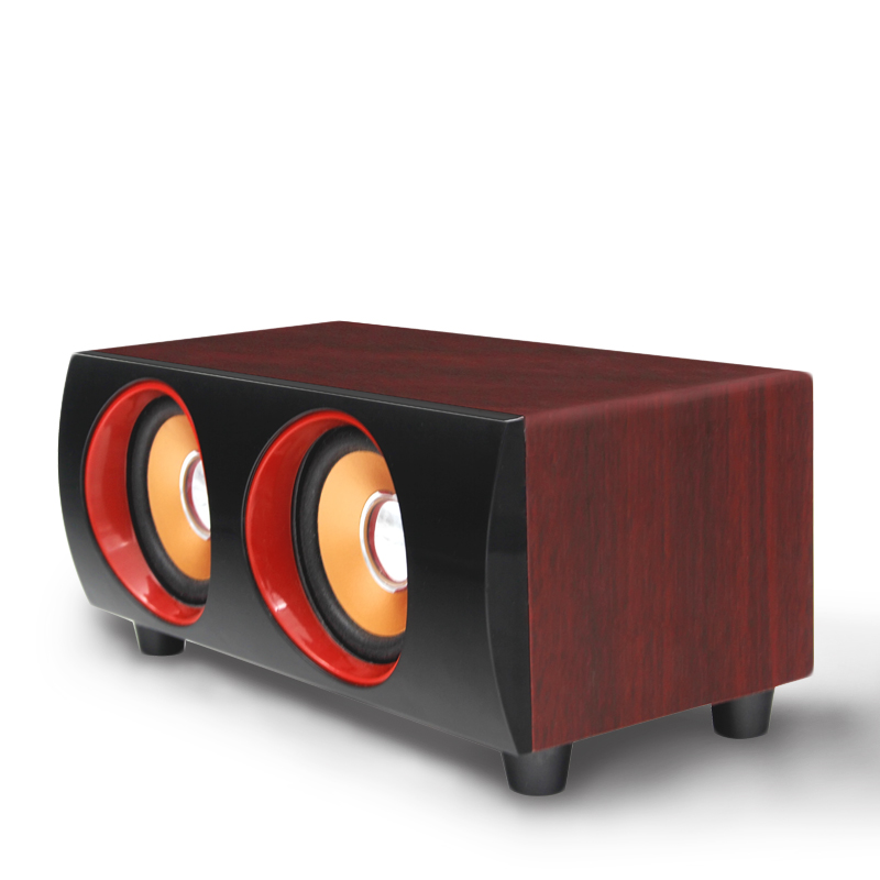 Portable Wooden Speaker USB2.0 Charging with Aux In Low Bass Pure Voice With 2 big Speaker for computer smart phone laptop(China (Mainland))