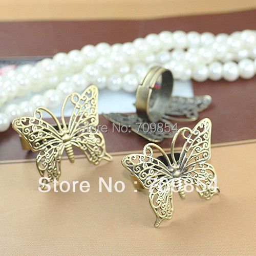 free shipping!!! 100pcs/lot 26*36mm antique bronze butterfly filigree wrap ring base jewelry findings<br><br>Aliexpress