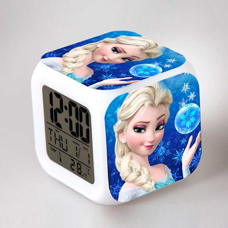 Disny Princess Anna And Elsa Doll Luminous Clock with Thermometer reine des neiges Toys For Children(China (Mainland))