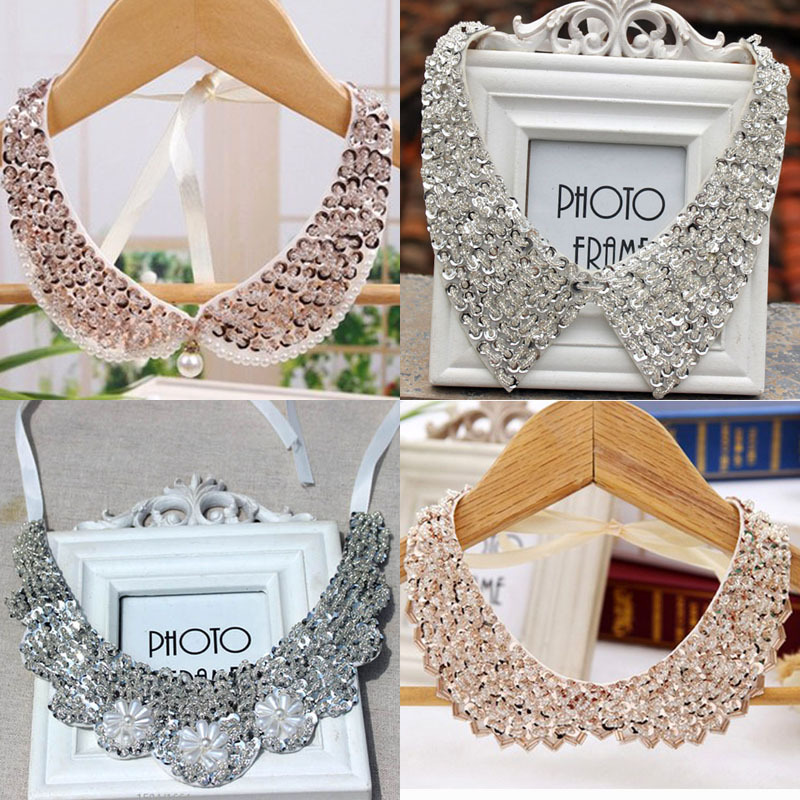 Silk and champagne fake necklace collar women beaded sequined collar with toothed order 10usd(China (Mainland))