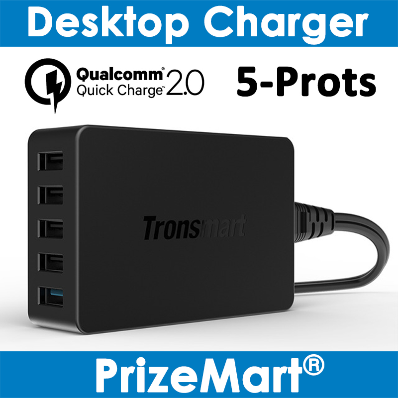 Tronsmart TS-UC5PC 5 Ports Quick Charge 2.0 For Qualcomm Certified QC2.0 Desktop Charger for Samsung Galaxy Xiaomi HTC Sony<br><br>Aliexpress