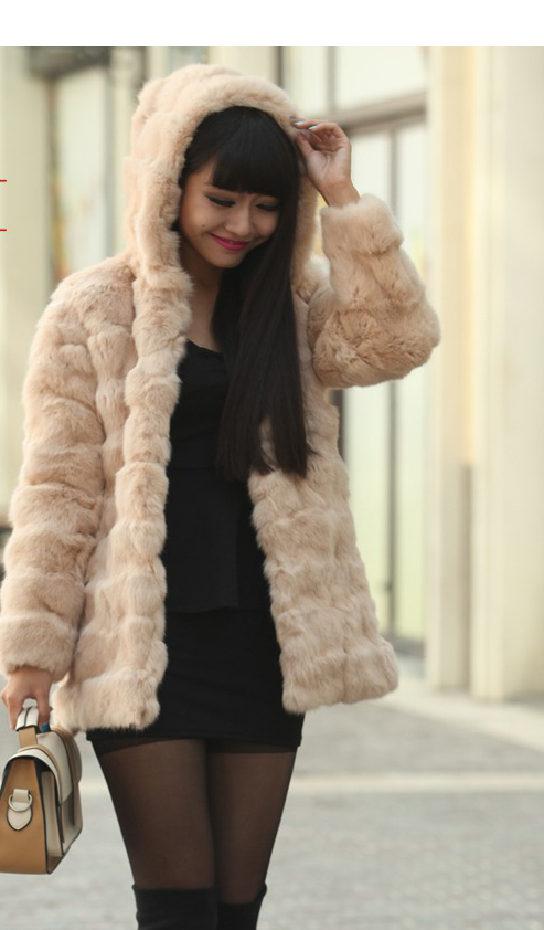 rabbit fur long coat design fur rabbit head wool long design with a hood rex rabbit fur coat(China (Mainland))