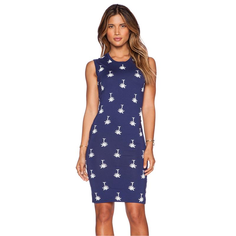 2015 summer new style tropical palm printing Slim thin sleeveless tank fashion dress Одежда и ак�е��уары<br><br><br>Aliexpress