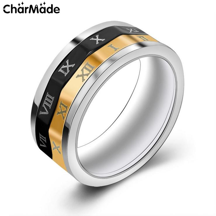 Mens Black Gold Tone Roman Numeral Band Spinner Ring 316L Stainless Steel Biker Jewelry Classic Accessory Sz7-12 CharMade R709(China (Mainland))