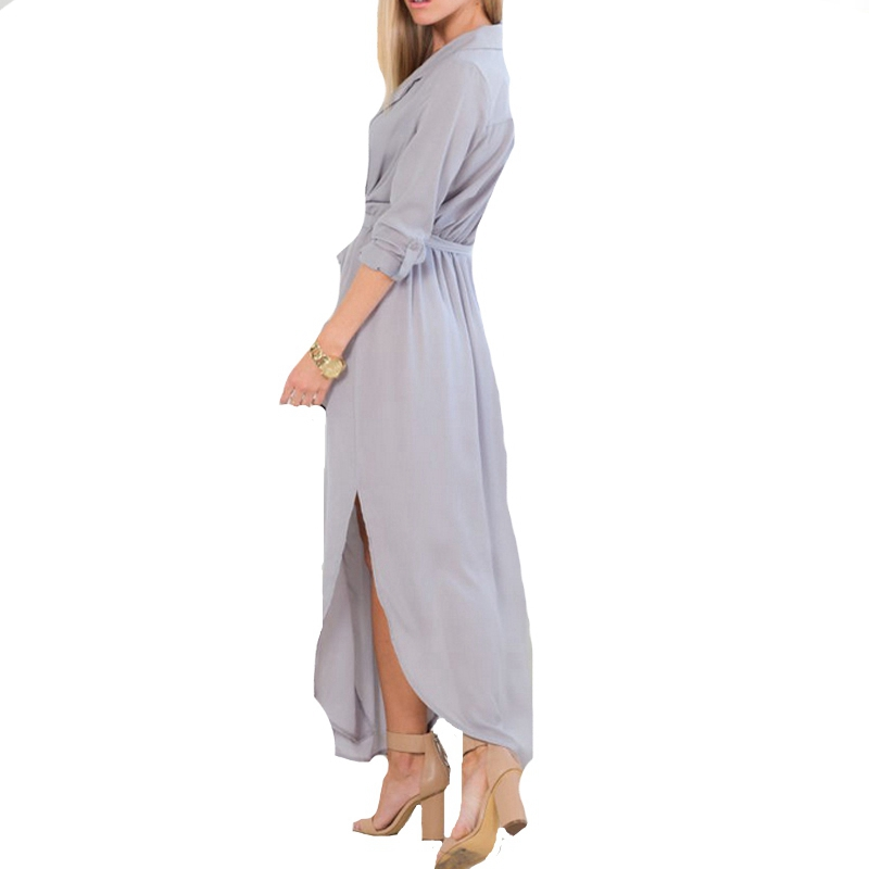 New Design Vestidos 2015 Summer Autumn Women Casual Loose Deep V Neck Long Maxi Dress Sexy Split Chiffon Dress Plus Size