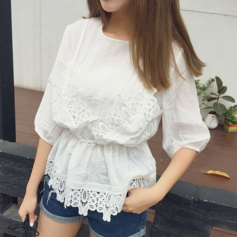 summer ruffled hem lace blouse bohemian shirt women tops fashion crochet chemise femme chemisier camicia donna blusa mujer(China (Mainland))