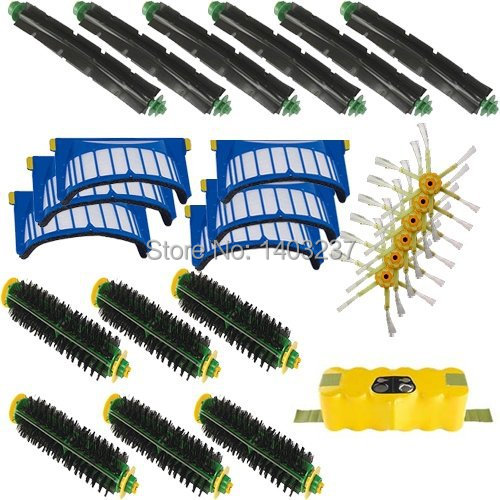 For iRobot Roomba 500 600 Series Accessory Kit - Includes: Battery 6 Beater Brushes 6 Bristle Brushes 6 Filters 6 Side Brushes(China (Mainland))
