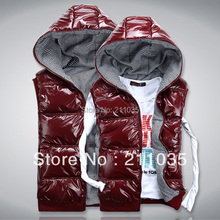 man Autumn and winter men's clothing with a hood down cotton vest male lovers vest female glossy kaross vest,R93(China (Mainland))