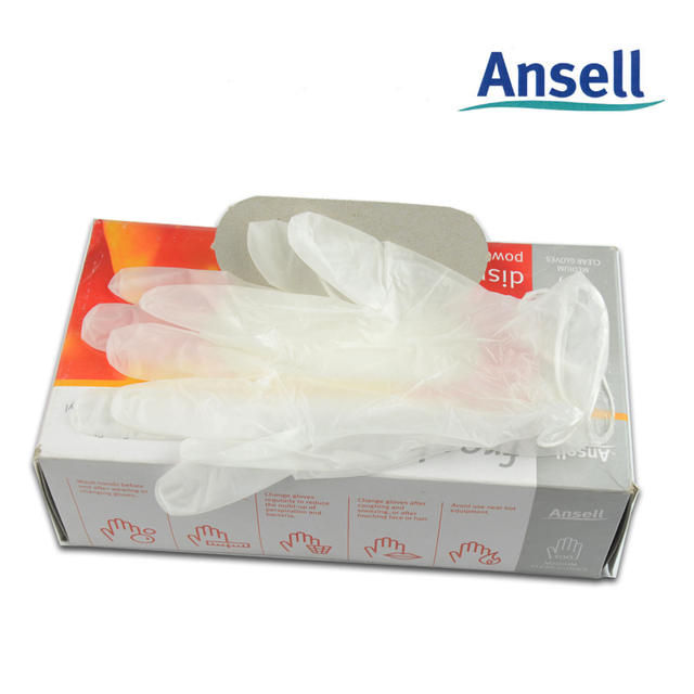 Ansell High Quality  Disposable Gloves Disposable PVC Food Grade Powder Free Transparent  Gloves Free Shipping