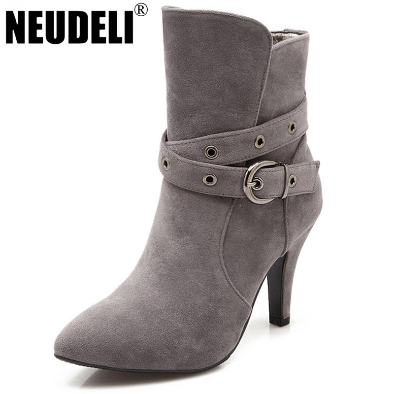 2016 New Winter Ankle High Heels Nubuck Leather Women Boots With Fur Fashion Platform Belt Buckle Martin Boots for Shoes Woman(China (Mainland))
