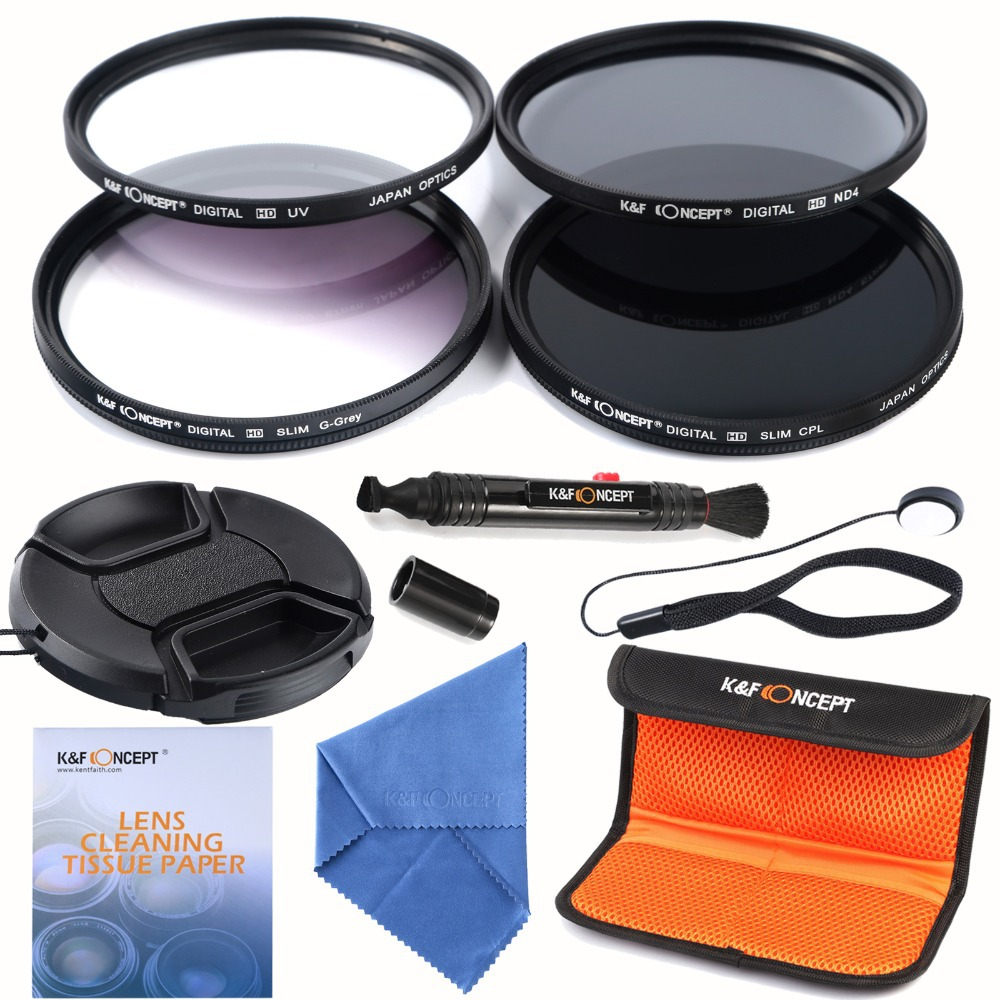 58mm slim UV CPL ND4 Filter lens kits+slim Graduated Grey Colour Filter Cap Cover Snap-on For Canon 600D 700D /For Nikon DSLR(China (Mainland))