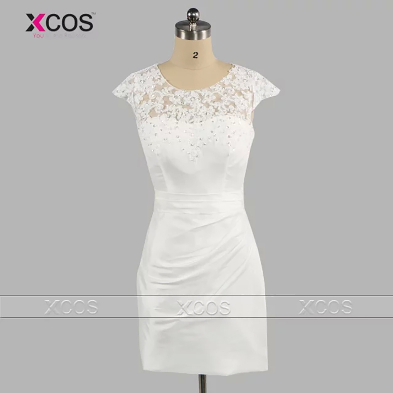 2016 New Year Vestidos De Festa Curto White Short Evening Dress Taffeta Appliques Beaded Scoop Lace Prom Gowns SA33(China (Mainland))