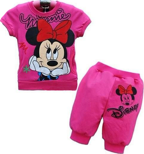 New arrival! Free shipping 6 sets/lot girl's rose 100% cotton cartoon Minnie pattern short t shirt with pant