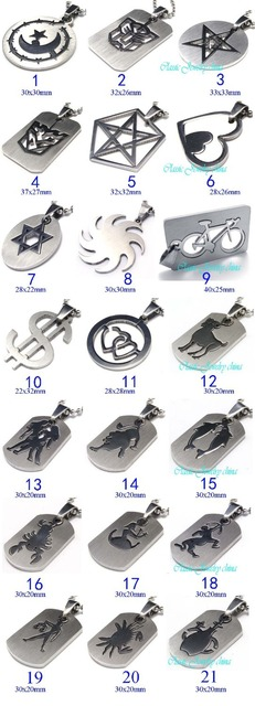 More than 100 styles new linear cutting stainless steel pendant Men's male  necklace can mix order 10pcs