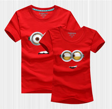 2015 New Summer Family Clothes For Mother And Daughter Cartoon Big Eyes Baby Boys Girls T