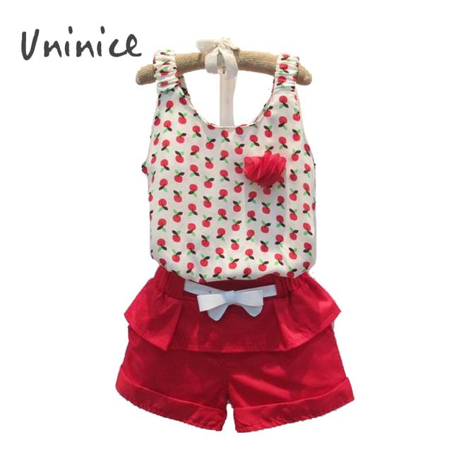 2016 летний новый цветок детской одежды вишня печать жилет + шорты + ремень 3 шт. ...