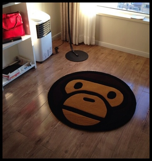 (31x31'')Cute Bape Baby Milo Shaped Rug Round Floral Carpet