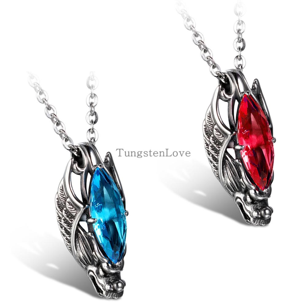 2015 New Fashion Jewelry for Mens Womens Chinese Style Dragon Pendant 316L Stainless Steel Blue & Red Glass Necklaces 55cm Chain(China (Mainland))