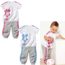 2015 Hot clearance children group of boys and girls set 100% cotton short-sleeved T-shirt + pants sport clothes suit Minnie
