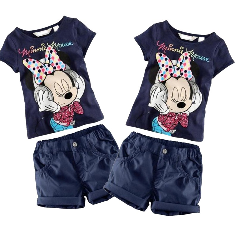 Children Baby kids girls clothes Minnie Sport Suits Clothing Set Tracksuit Infant Toddler Girls Clothes Top T shirt + Pants(China (Mainland))