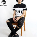HZIJUE ripped jeans for men skinny Distressed slim famous brand designer biker hip hop swag tyga