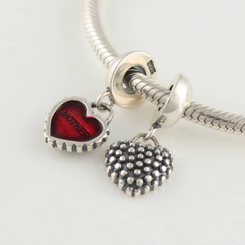 Мать и дочь форме сердца стерлингового серебра 925 мотаться шариков прокладки шарм бусины DIY ювелирных изделий подходит для пандора браслет