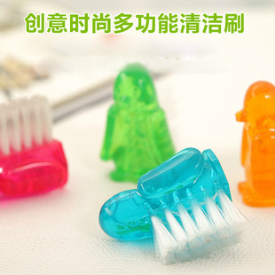 6*4cm  House Cleaning Creative Crevice Crack Corner Shoe Brushes Penguin Candy Color Cleaning Brushes Free Shipping(China (Mainland))