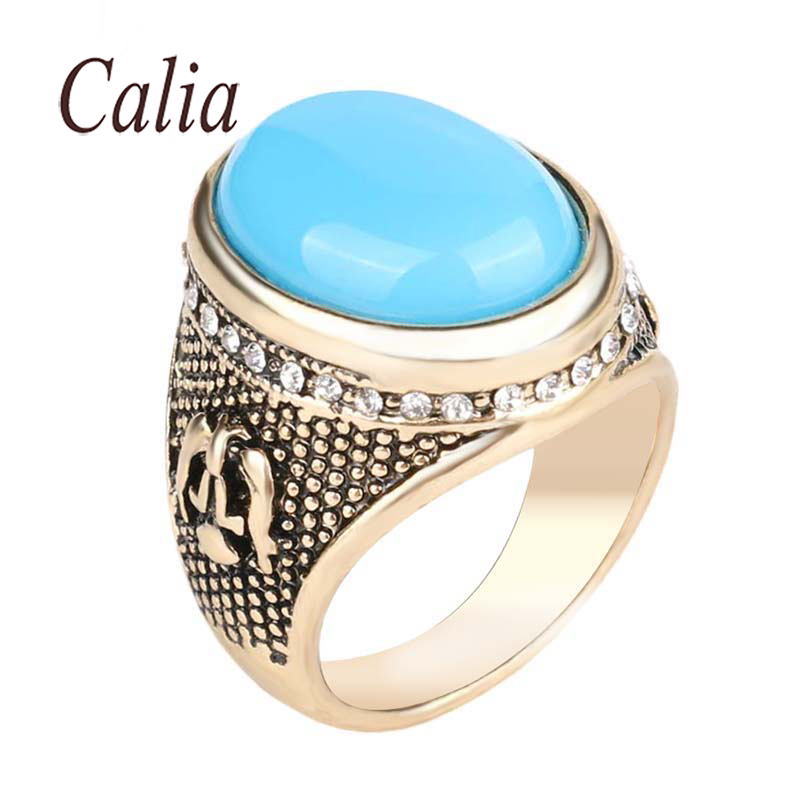 Accessories Shape Simple Hot Sapphire Jewelry Turquoise Ring Retro 18K Gold Ottoman Design Style Inlay White Crystal Mens Ring(China (Mainland))