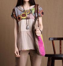 New 2015 Women Short Sleeve T Shirt  Fashion Casual Irregular Linen Summer Dress Plus Size(China (Mainland))