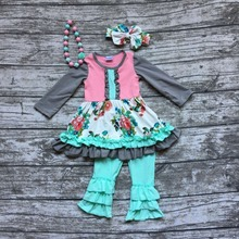 baby girls fall clothing girls floral party outfits baby girls boutique clothes long sleeve with ruffle pant with accessories(China (Mainland))