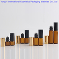 50Pcs Portable Brown Glass Empty Oil Box Cosmetic Bottle With Stainless Steel Beads 2 Color Metal