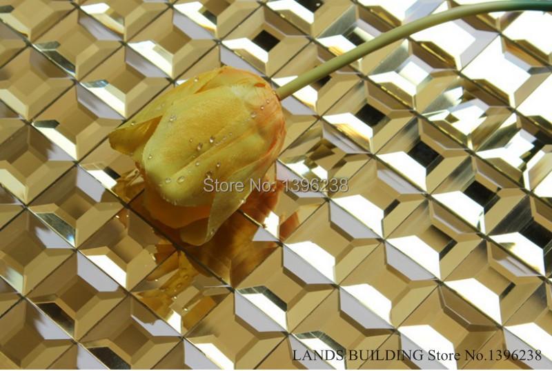 LSMR11,Golden Mirrored glass mosaic art design mirror tile backsplash kitchen tile sheets bathroom wall mirror tiles wholesale(China (Mainland))