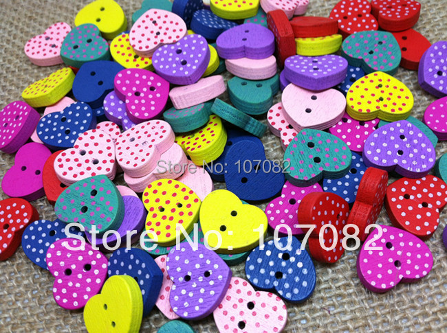 300pcs Wood Heart Spotted Buttons 2 Holes Button Boutons 13x15mm Embellishments Scrapbooking Cardmaking(China (Mainland))