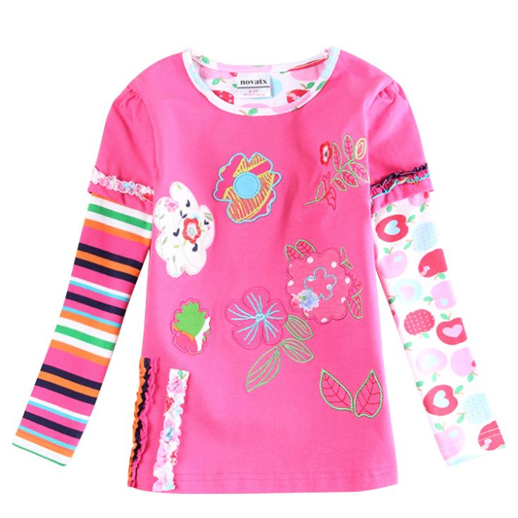 Kids girls t shirt children clothing embroidery colorful