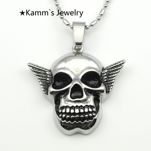 Hip Hop Skull Charms Sons Of Anarchy silver 316 stainless steel jewerly camafeu pendulum skyrim christian jewelry unicorn KP1135(China (Mainland))