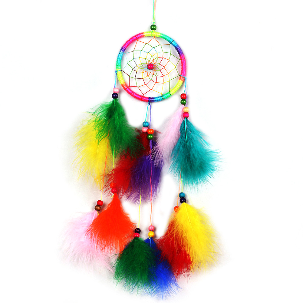 Handmade Colorful Dreamcatcher Wind Chimes Indian Style Feather Pendant Dream Catcher Hanging Gift Home Decor(China (Mainland))