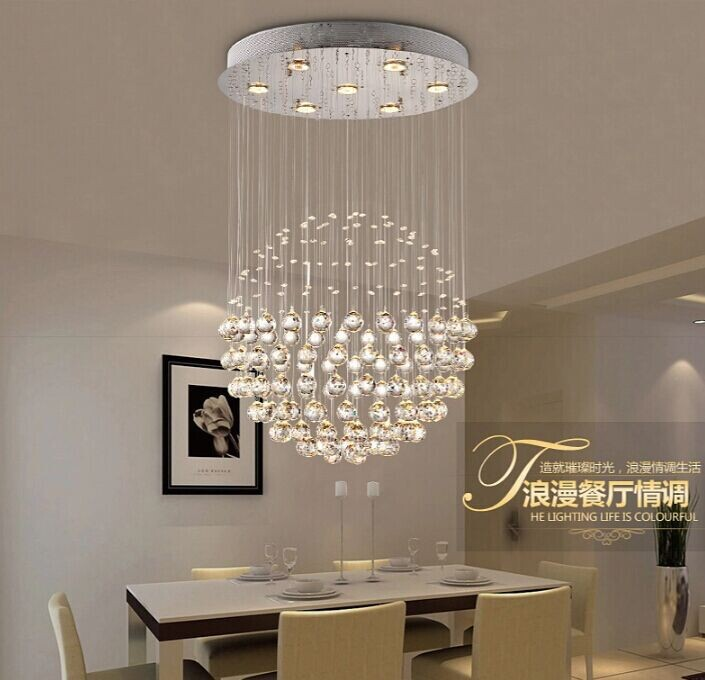 acheter simple et moderne gu10 led pendentif en cristal lampe lustre ballon rond. Black Bedroom Furniture Sets. Home Design Ideas
