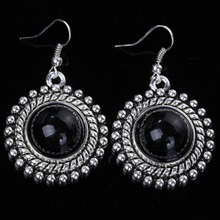 Free Shipping Chinese Retro Jewelry Tibetan Silver Round Turquoise Women Prom Hook Earring (China (Mainland))