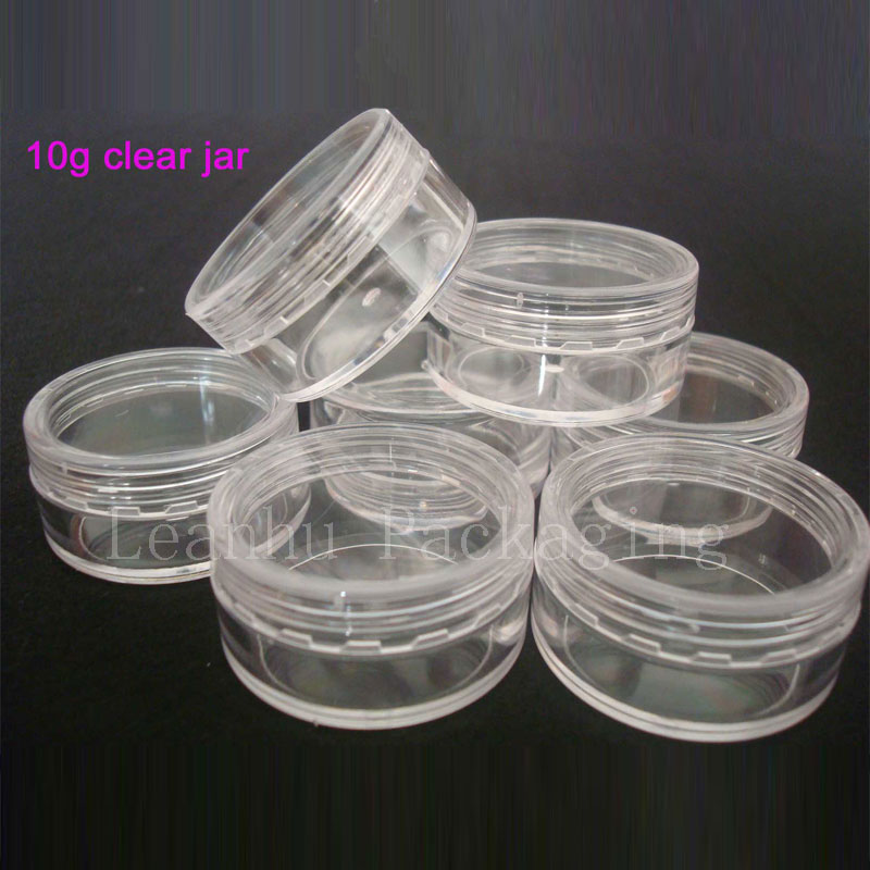 10g X 100 empty small plastic bottle jars containers transparent color storage,clear cream tin skin nail art - Packaging E shop store
