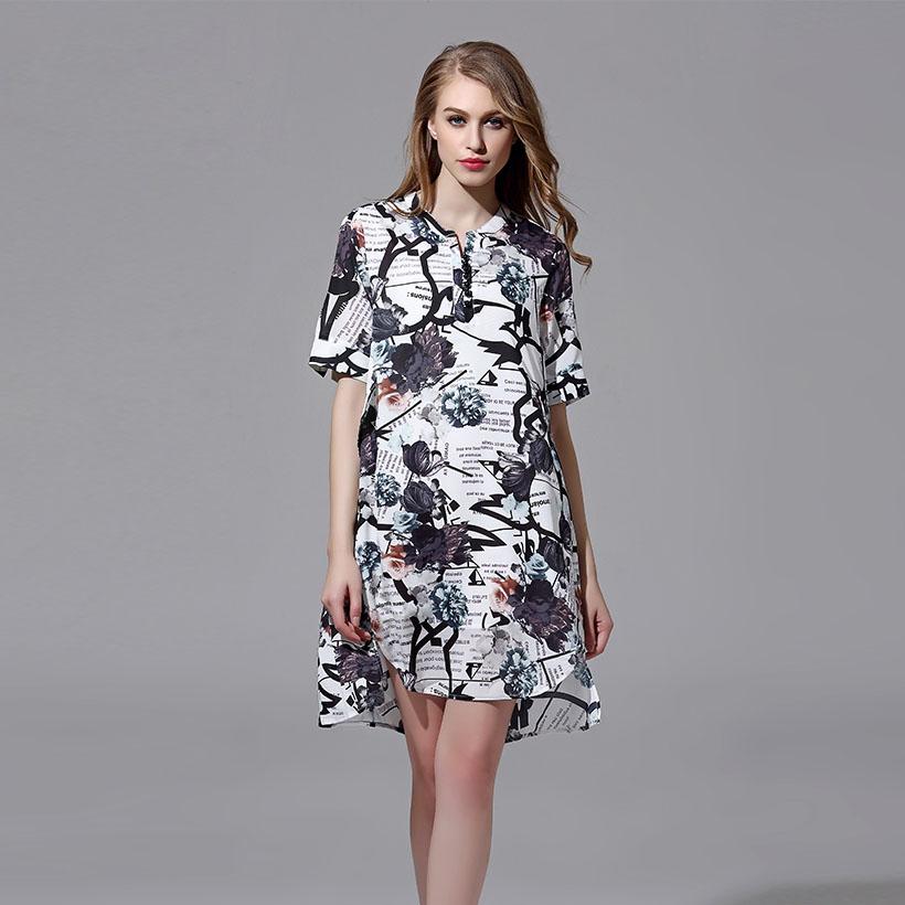 Summer Dress 2016 Casual Mandarin Collar Chinese Style Half Sleeve folk-custom Mini Dress Plants/Animal Printing Women Clothing(China (Mainland))