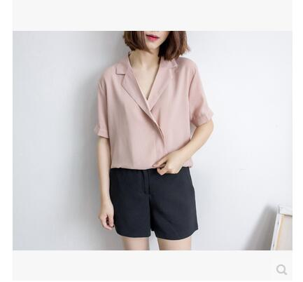 Free shipping 6091 # [a generation of fat] French custom suit collar wild fold chiffon shirt Dongguk door Korean flavor(China (Mainland))