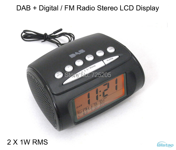 DAB + Digital FM / Radio Alarm Clock LCD Display Automatic Search Station Time Display 2 X 1W RMS Free Shipping(China (Mainland))