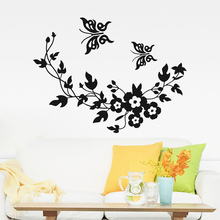 Buy Removable Vinyl Art Flowers Vine butterfly Wall Sticker Mural Decal Wall Poster toilet living Room decals BM8519 for $7.04 in AliExpress store