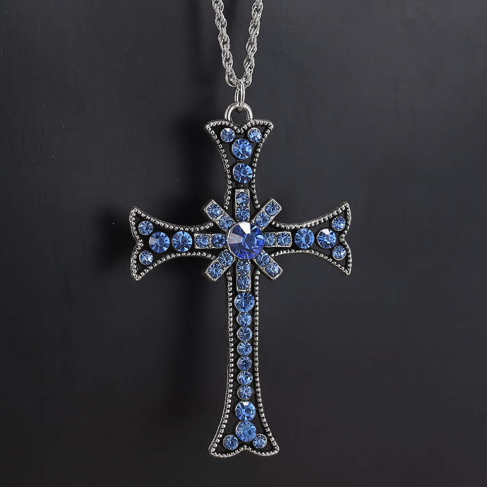 Reasonable Price Sapphire Sky Blue Crystal Rhinestone Flower Cross Pendant Necklace Silver Plated Chain pendant(China (Mainland))