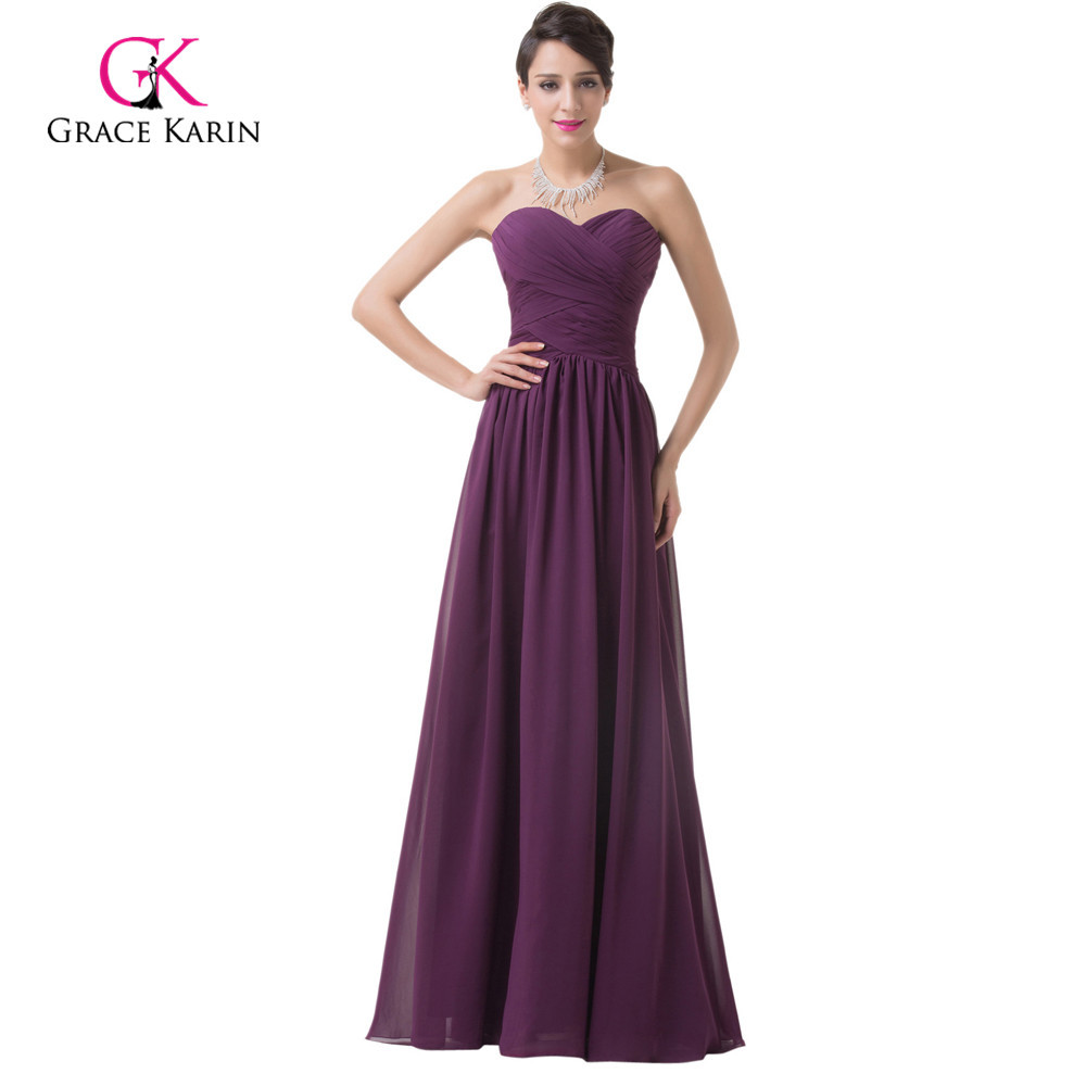 Grace karin cheap purple bridesmaid dresses under 50 for Cheap chiffon wedding dresses