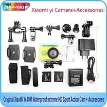 Free Shipping!!Original Xiaomi yi Sport Camera 16MP 60FPS WIFI Ambarella Bluetooth Waterproof connector set+Add Accessories(China (Mainland))