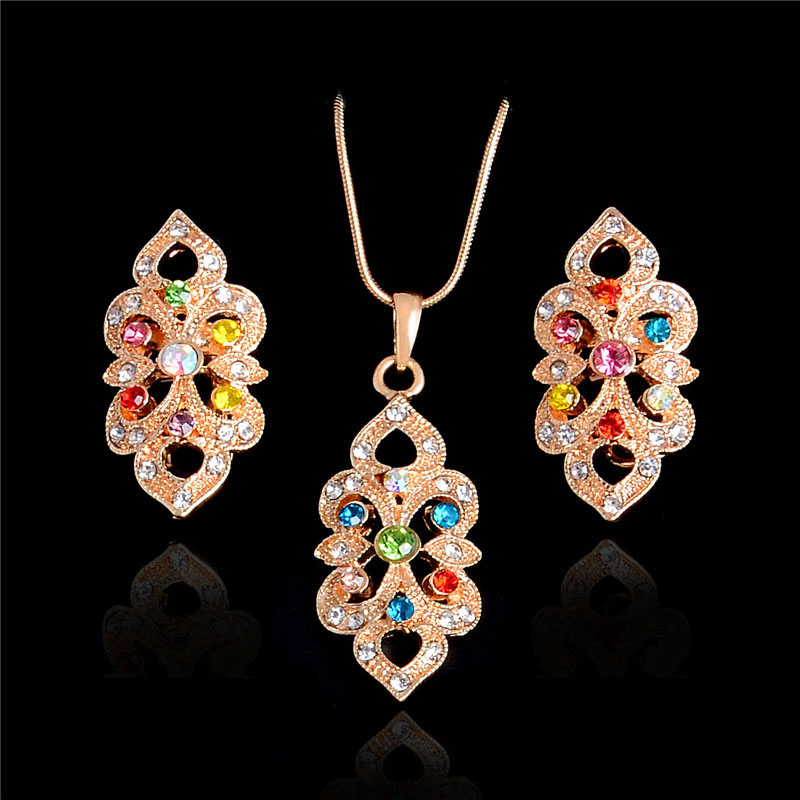 Charm Random Multi-colored Crystal Clear Rhinestone Fine Jewelry Sets 18k Gold Plated Choker Statement Pendant Necklace Earrings(China (Mainland))