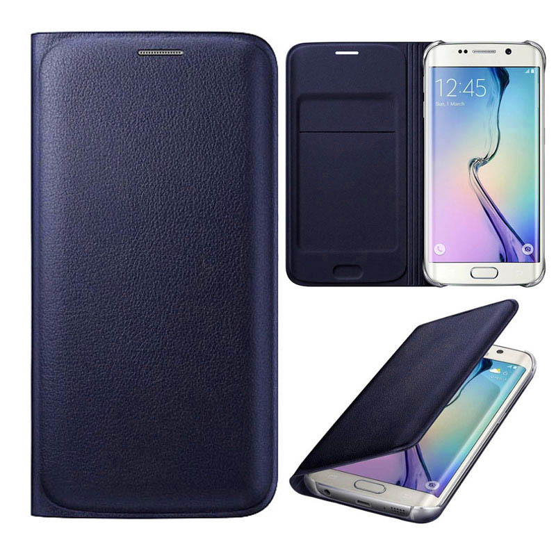 2015 New Hot sale  For Samsung Galaxy S6 Edge G9250 Flip Card Slot Leather Case Cover Freeshipping(China (Mainland))